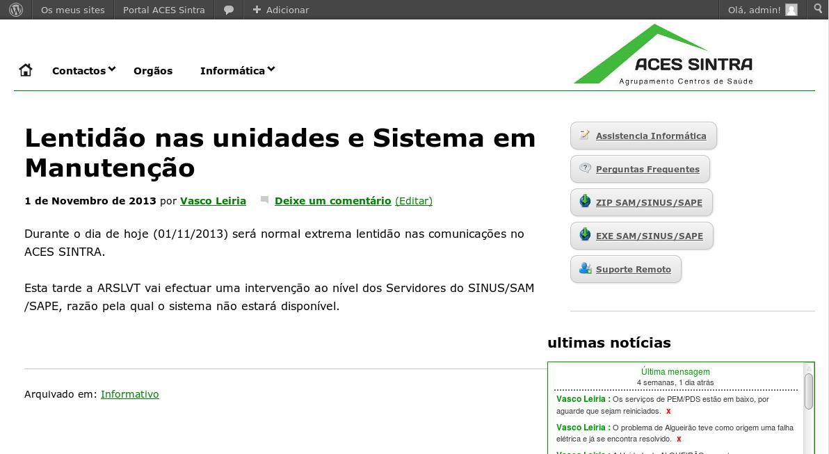 Uma página do Portal ACES Sintra