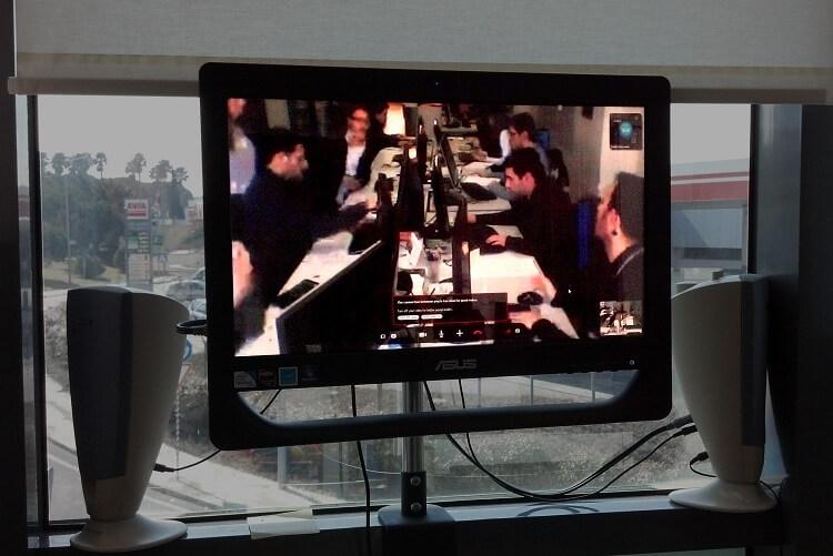 Écran no escritório da Globaz em Oeiras