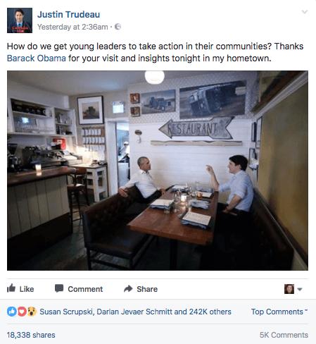 Post de Justin Trudeau no Facebook sobre conversa com Barack Obama