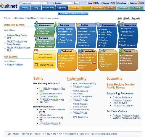 Parte de uma das páginas do Technet da Altitude Software