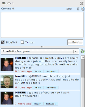Bluetwit - screenshot from 2008