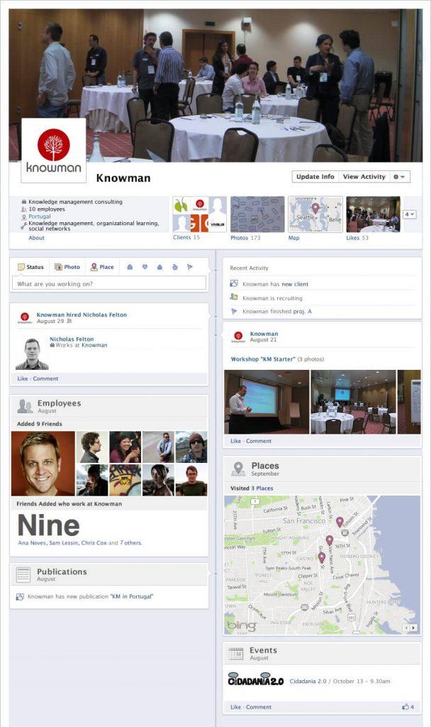 Timeline do Facebook - mockup