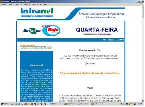 Página do Informativo Inter Diário Hoje Online