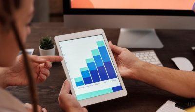 Gráfico de resultados num tablet
