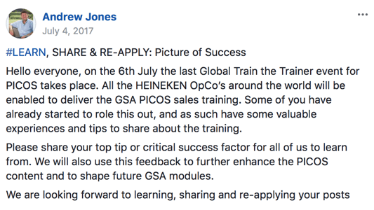 Pedido de ideias para melhorar a Global Sales Academy