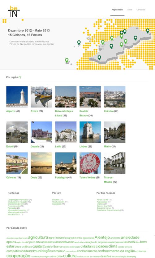 Página inicial do site beIN