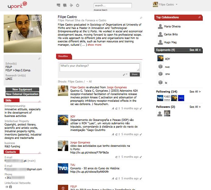 Página de investigador no UPoint