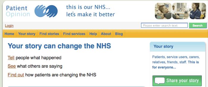 Patient Opinion - página inicial